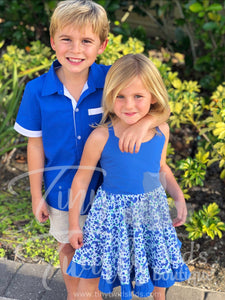 Boy's Blue Dress Shirt - In-Stock - Tiny Twirls Kids Boutique