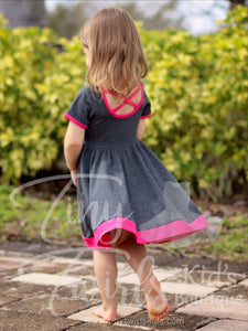 Gray and Hot Pink Criss-Cross Twirl Dress - In-Stock - Tiny Twirls Kids Boutique