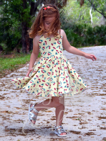 Yellow Cherries Twirl Dress - In-Stock - Tiny Twirls Kids Boutique