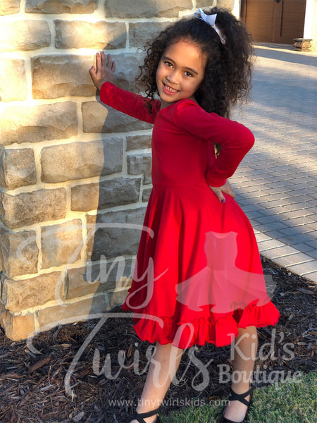 Red long-sleeve Solid Twirl Dress - In-Stock - Tiny Twirls Kids Boutique