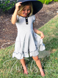 Black and White Polka Dot Ruffle Twirl Dress - In-Stock