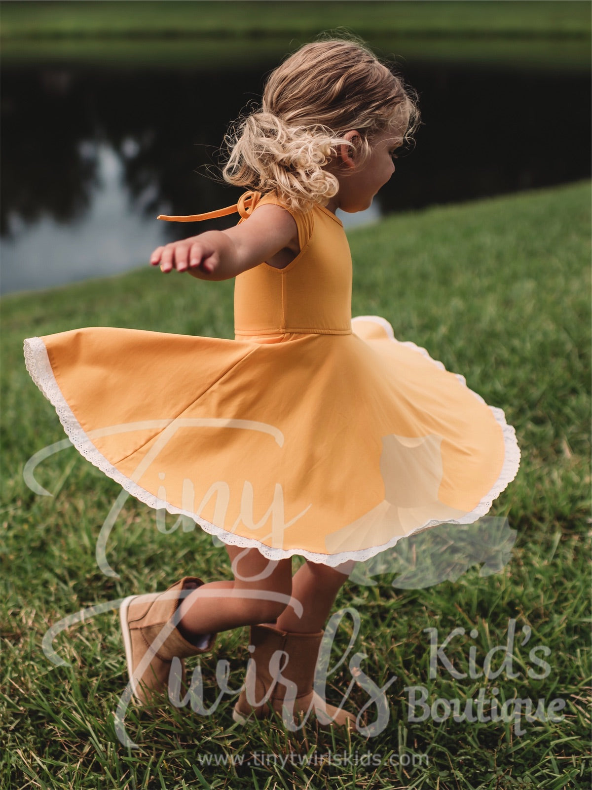 Gold Lace Trim Twirl Dress - In-Stock - Tiny Twirls Kids Boutique