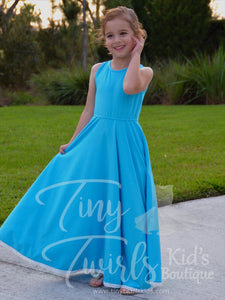 Caribbean Blue Maxi Dress with Lace - Pre-Order - Tiny Twirls Kids Boutique