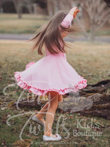 Light Pink 3/4 sleeve Solid Twirl Dress - In-Stock