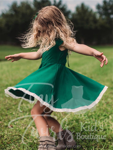 Kelly Green Lace Trim Twirl Dress - In-Stock - Tiny Twirls Kids Boutique