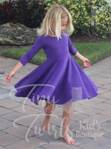 Dark Purple 3/4 sleeve Solid Twirl Dress - In-Stock - Tiny Twirls Kids Boutique