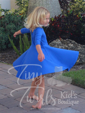 Royal Blue 3/4 sleeve Solid Twirl Dress - In-Stock - Tiny Twirls Kids Boutique
