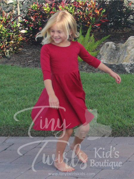 Wine 3/4 sleeve Solid Twirl Dress - In-Stock - Tiny Twirls Kids Boutique