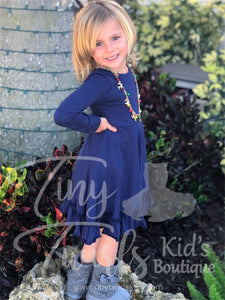 Navy long-sleeve Twirl Dress - In-Stock - Tiny Twirls Kids Boutique