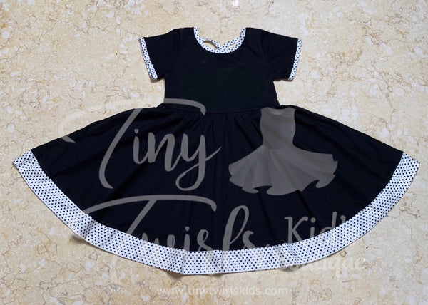 Black with White Polka Dot Trim Twirl Dress - In-Stock - Tiny Twirls Kids Boutique