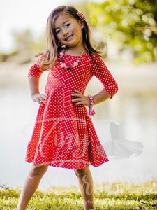Bright Red Polka-Dot 3/4 sleeve Solid Twirl Dress - In-Stock - Tiny Twirls Kids Boutique