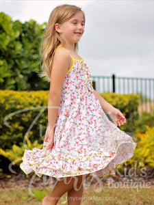 White and Yellow Double Ruffle Twirl Dress - Pre-Order