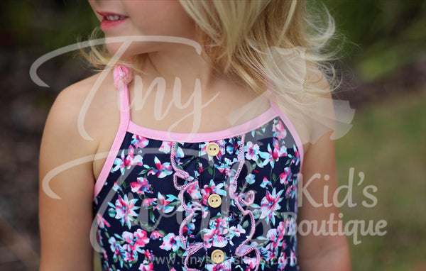Navy and Pink Double Ruffle Twirl Dress - In-Stock - Tiny Twirls Kids Boutique