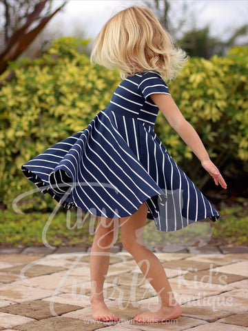Navy and White Striped Twirl Dress - Pre-Order