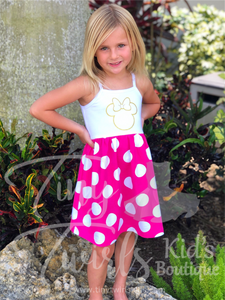 Hot Pink Minnie Tank Dress - In-Stock - Tiny Twirls Kids Boutique