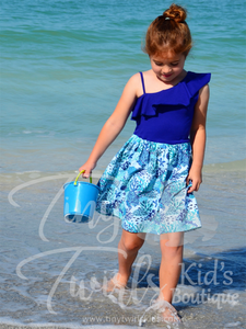 One Shoulder Sapphire Blue Under the Sea Dress - In-Stock - Tiny Twirls Kids Boutique