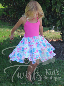 Pink Seashell Twirl Dress - In-Stock - Tiny Twirls Kids Boutique
