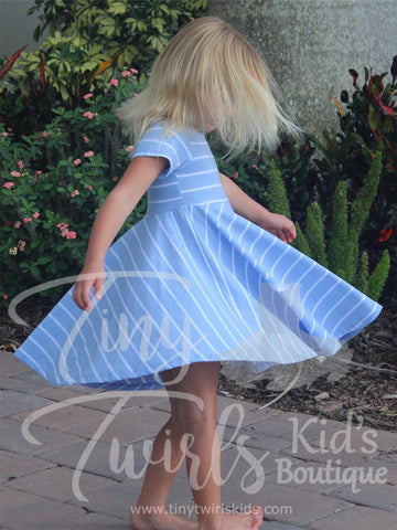Periwinkle and White Striped Twirl Dress - In-Stock - Tiny Twirls Kids Boutique