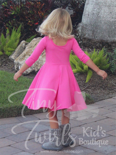 Pink 3/4 sleeve Solid Twirl Dress - In-Stock - Tiny Twirls Kids Boutique