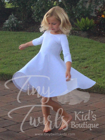 Light Gray 3/4 sleeve Solid Twirl Dress - In-Stock