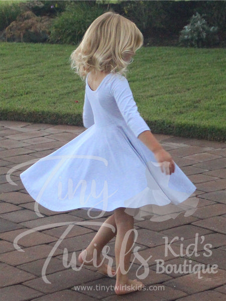 Light Gray 3/4 sleeve Solid Twirl Dress - In-Stock - Tiny Twirls Kids Boutique