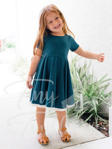 Teal Lace Trim Twirl Dress - In-Stock - Tiny Twirls Kids Boutique