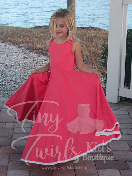 Coral Maxi Dress with Lace - Pre-Order - Tiny Twirls Kids Boutique