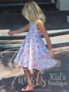 White and Yellow Floral Tank Twirl Dress - In-Stock - Tiny Twirls Kids Boutique