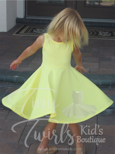 Solid Yellow Tank Twirl Dress - In-Stock - Tiny Twirls Kids Boutique