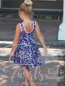 Navy and Pink Floral Tank Twirl Dress - In-Stock - Tiny Twirls Kids Boutique