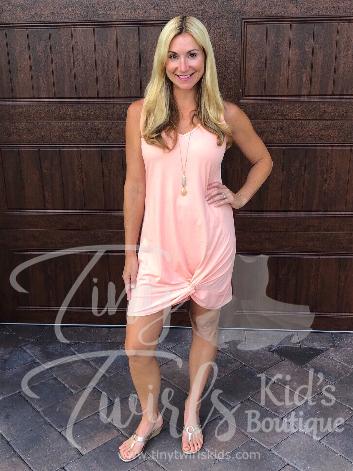 Women's Peach Knot Dress - In-Stock - Mommy & Me - Tiny Twirls Kids Boutique