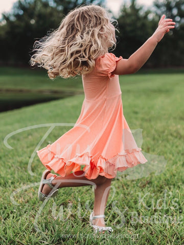 Orange Ruffle Twirl Dress - In-Stock - Tiny Twirls Kids Boutique