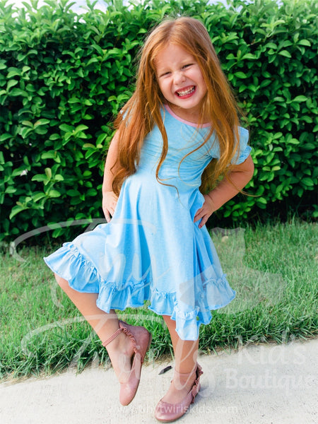 Blue Ruffle Twirl Dress - In-Stock - Tiny Twirls Kids Boutique