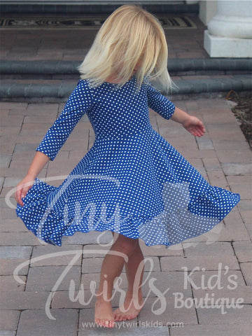 Blue Polka-Dot 3/4 sleeve Solid Twirl Dress - In-Stock - Tiny Twirls Kids Boutique