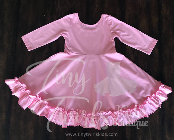 Light Pink 3/4 sleeve Solid Twirl Dress - In-Stock - Tiny Twirls Kids Boutique
