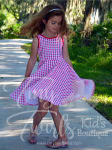 Red Gingham Tank Twirl Dress - In-Stock - Tiny Twirls Kids Boutique