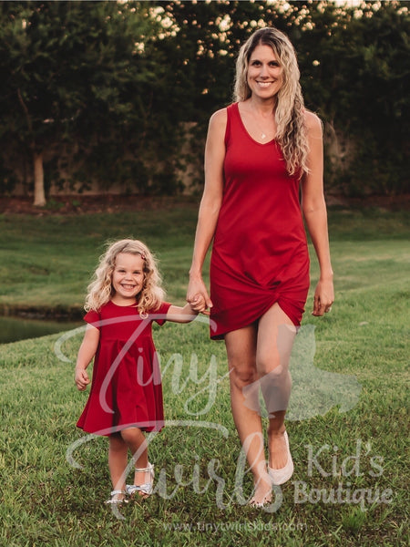 Women's Deep Red Knot Dress - In-Stock - Mommy & Me - Tiny Twirls Kids Boutique