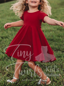 Deep Red Twirl Dress - In-Stock - Tiny Twirls Kids Boutique