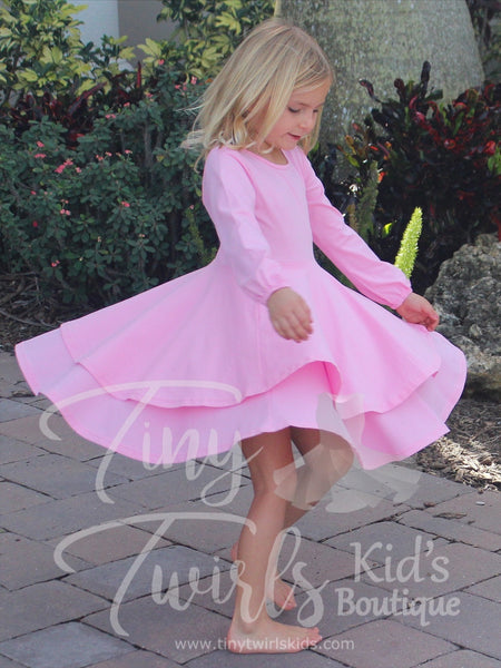 Cotton Candy Pink Double Twirl Dresses - In-Stock - Tiny Twirls Kids Boutique