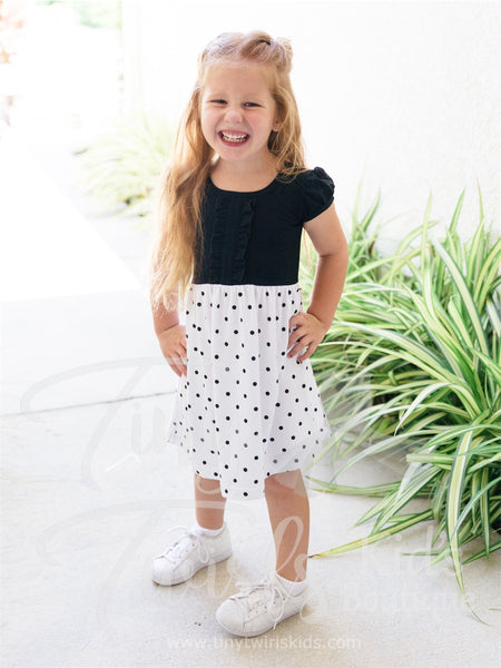 Black and White Polka Dot Dress - In-Stock - Tiny Twirls Kids Boutique