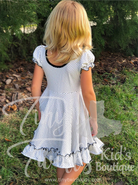 Black and White Polka Dot Ruffle Twirl Dress - In-Stock - Tiny Twirls Kids Boutique