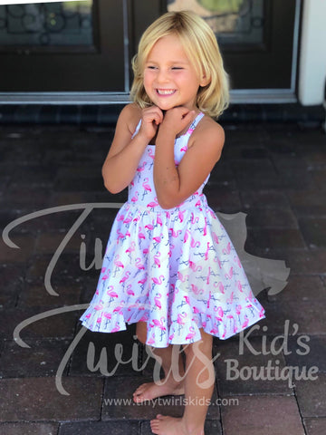Flamingo Twirl Dress - In-Stock - Tiny Twirls Kids Boutique