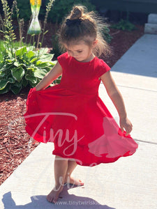 Girl's Red Ruffle Tie Dress - In-Stock - Mommy & Me - Tiny Twirls Kids Boutique