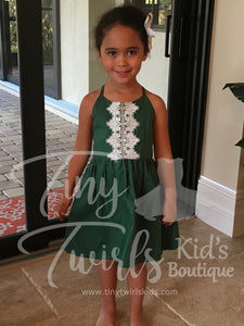 Green Dress with Lace - Tiny Twirls Kids Boutique