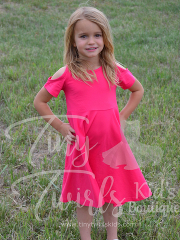 Hot Pink Cold Shoulder Twirl Dress - In-Stock - Tiny Twirls Kids Boutique