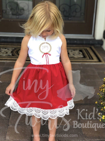 Joy Christmas Dress - In-Stock - Tiny Twirls Kids Boutique