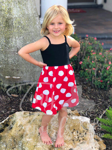 Minnie Inspired Tank Dress - In-Stock - Tiny Twirls Kids Boutique