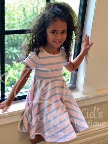 Pale Pink And Periwinkle Striped Twirl Dress - In-Stock - Tiny Twirls Kids Boutique