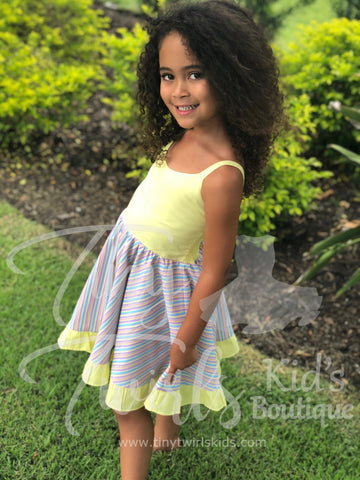 Pale Yellow Rainbow Twirl Dress - In-Stock - Tiny Twirls Kids Boutique