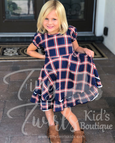 Plaid Ruffle Twirl Dress - In-Stock - Mommy & Me - Tiny Twirls Kids Boutique